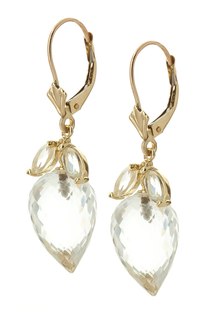 White Topaz Briolette Drop Earrings 25.5ctw in 9ct Gold