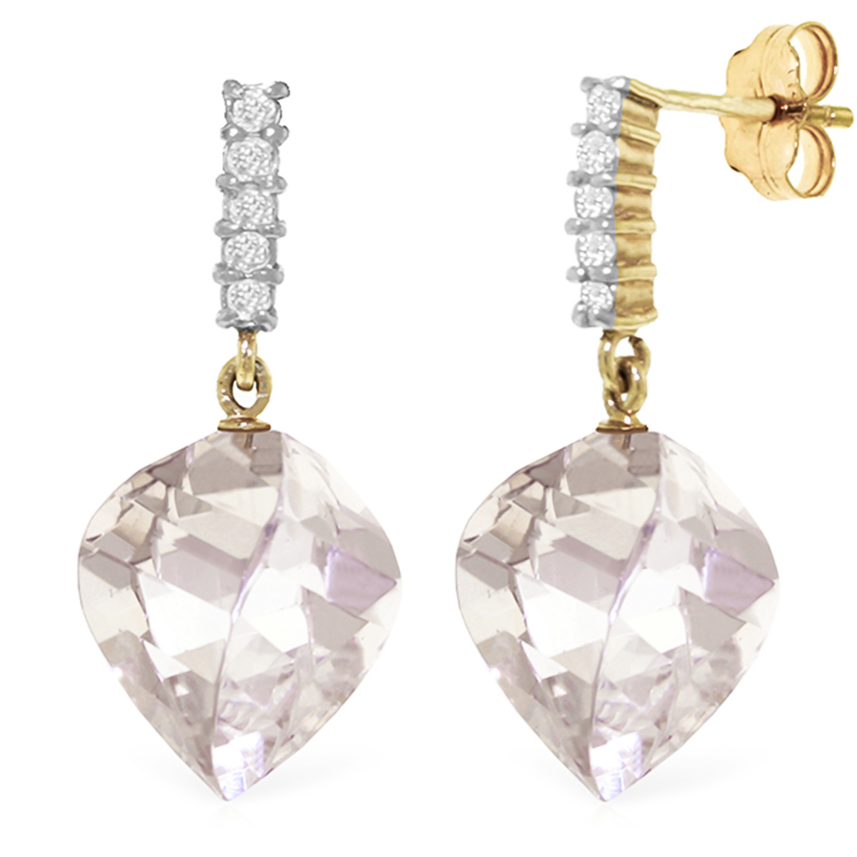 White Topaz and Diamond Stud Earrings 25.6ctw in 9ct Gold
