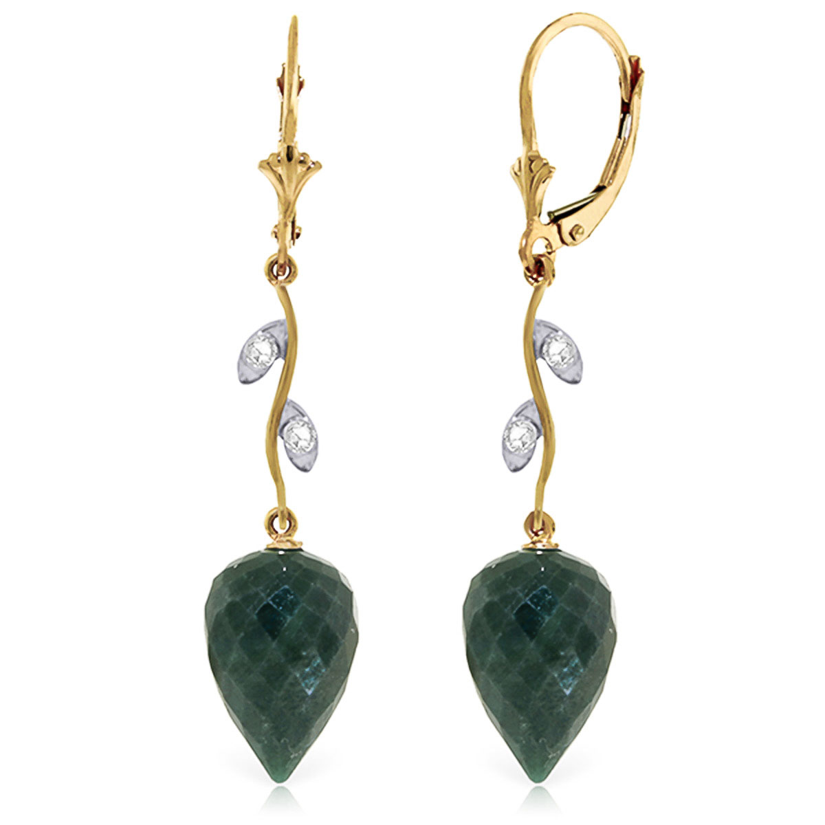 Emerald and Diamond Drop Earrings 25.7ctw in 9ct Gold
