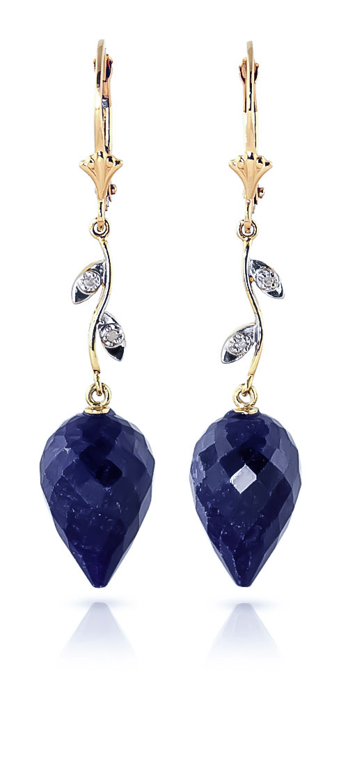 Sapphire and Diamond Drop Earrings 25.7ctw in 9ct Gold