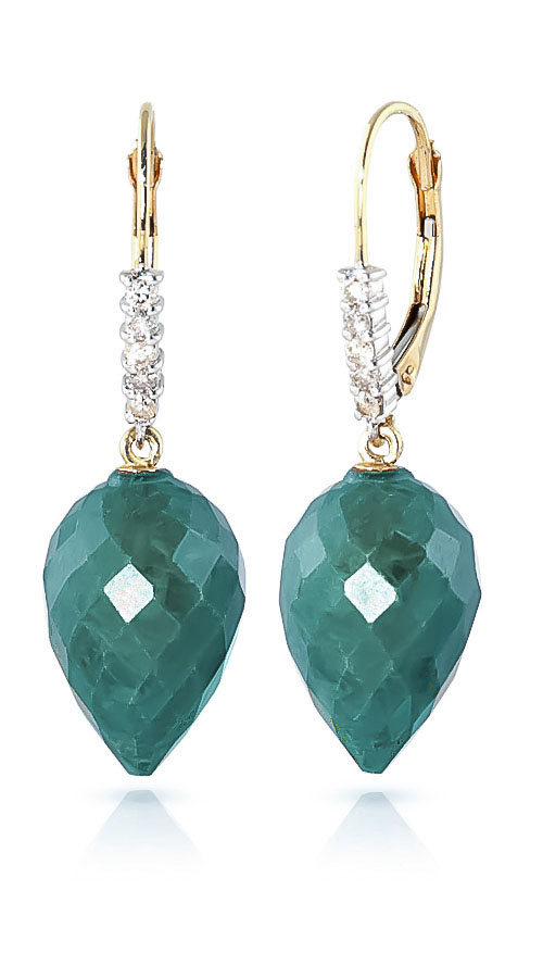 Emerald and Diamond Drop Earrings 25.8ctw in 9ct Gold