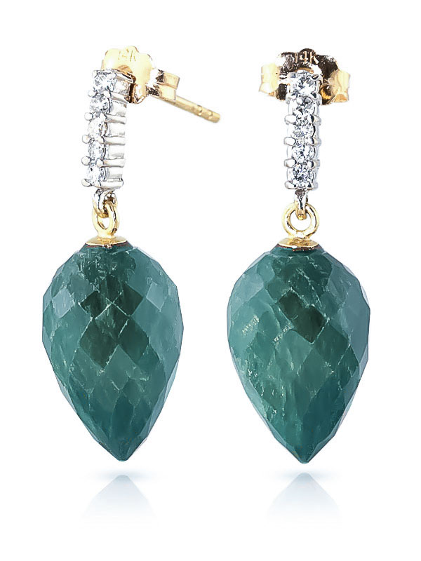 Emerald and Diamond Stud Earrings 25.8ctw in 9ct Gold