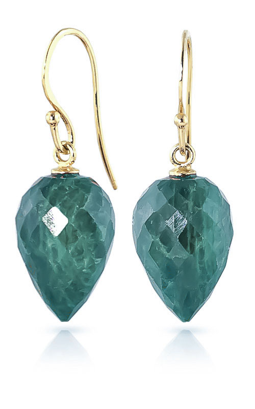 Emerald Briolette Drop Earrings 25.8ctw in 9ct Gold