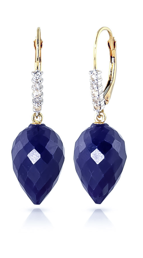 Sapphire and Diamond Drop Earrings 25.8ctw in 9ct Gold