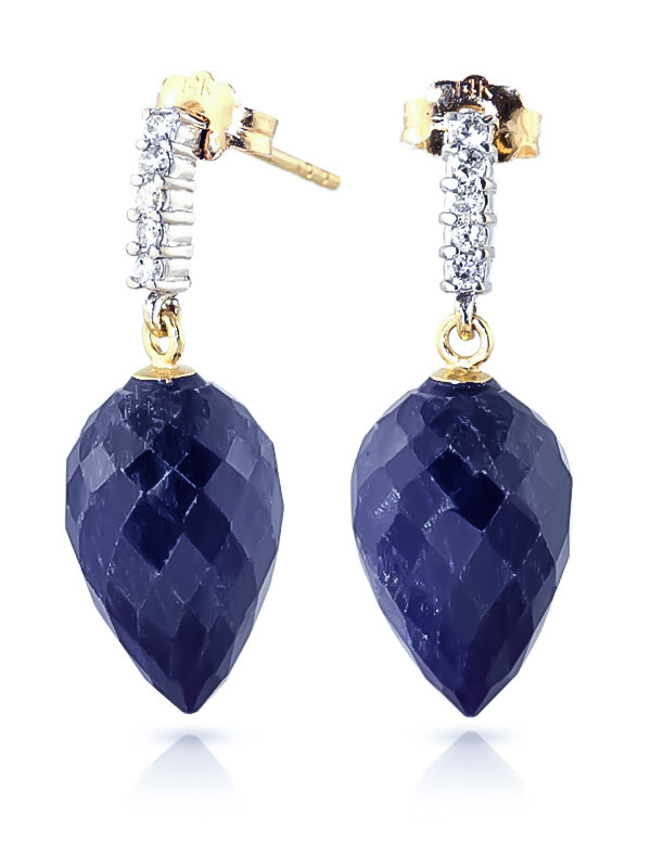 Sapphire and Diamond Stud Earrings 25.8ctw in 9ct Gold
