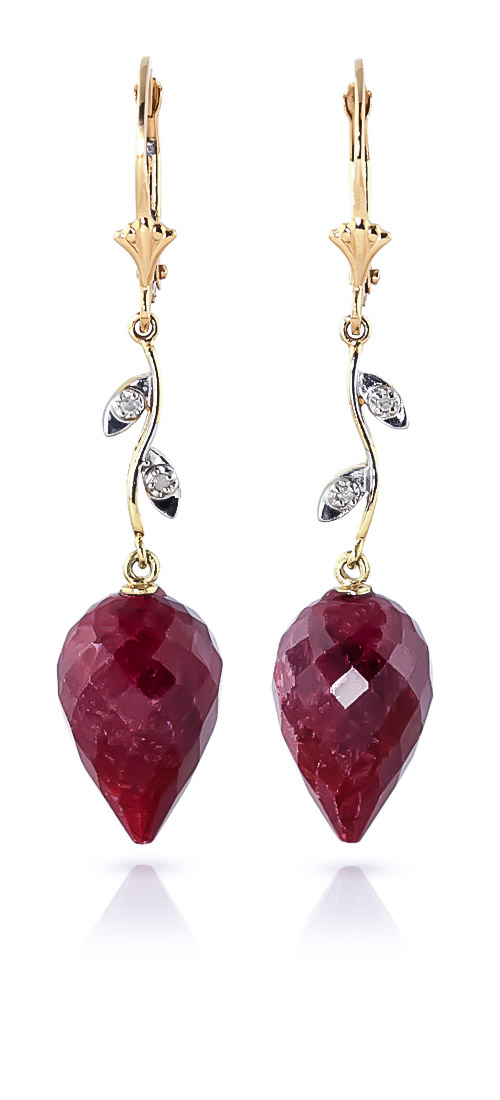 Ruby and Diamond Drop Earrings 26.1ctw in 9ct Gold