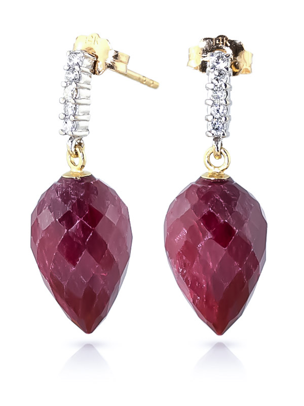 Ruby and Diamond Stud Earrings 26.1ctw in 9ct Gold
