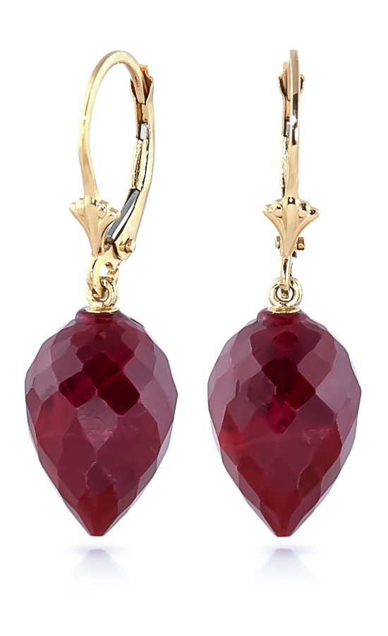 Ruby Briolette Drop Earrings 26.1ctw in 9ct Gold