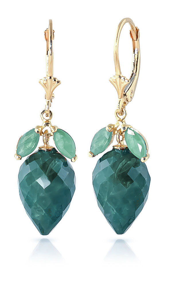 Emerald Briolette Drop Earrings 26.8ctw in 9ct Gold
