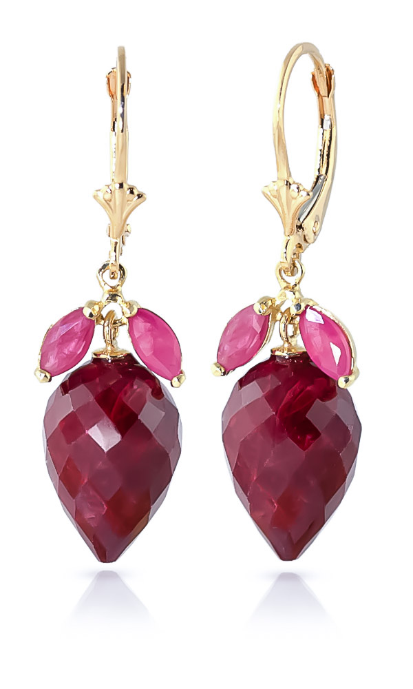 Ruby Briolette Drop Earrings 27.1ctw in 9ct Gold
