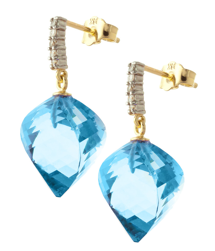 Blue Topaz and Diamond Stud Earrings 27.8ctw in 9ct Gold