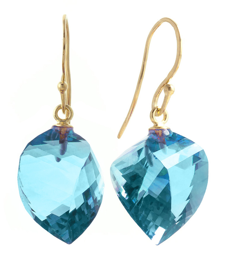 Blue Topaz Spiral Briolette Drop Earrings 27.8ctw in 9ct Gold