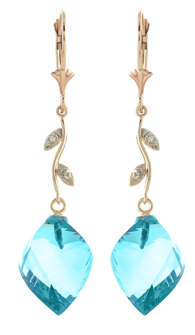 Blue Topaz and Diamond Drop Earrings 27.8ctw in 9ct Gold