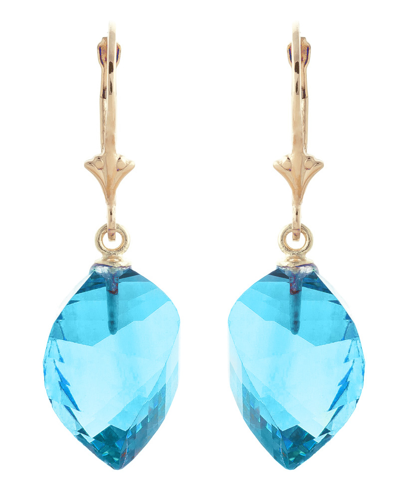 Blue Topaz Briolette Drop Earrings 27.85ctw in 9ct Gold
