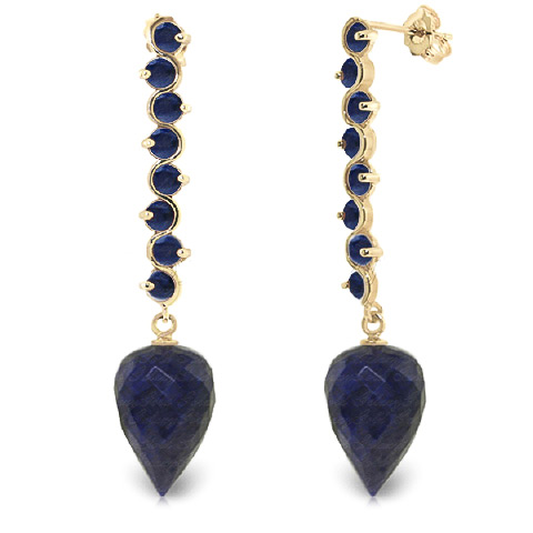 Sapphire Briolette Drop Earrings 29.2ctw in 9ct Gold