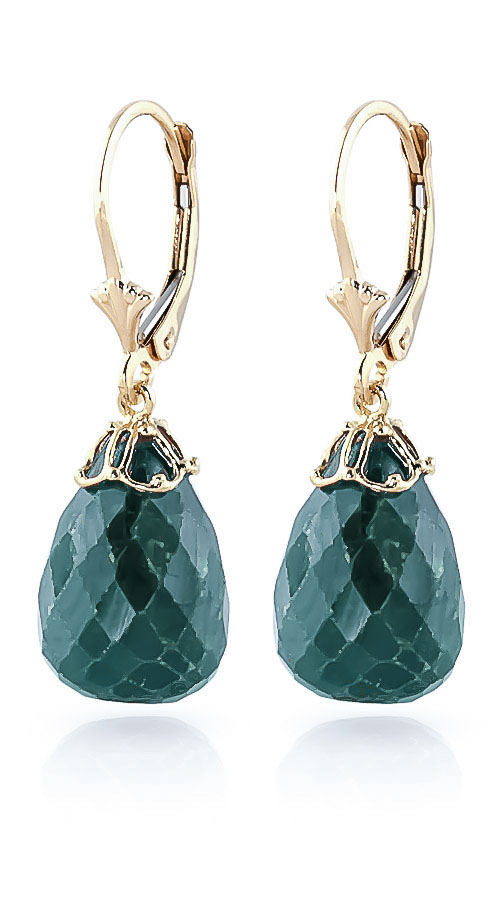 Emerald Crown Briolette Drop Earrings 29.6ctw in 9ct Gold