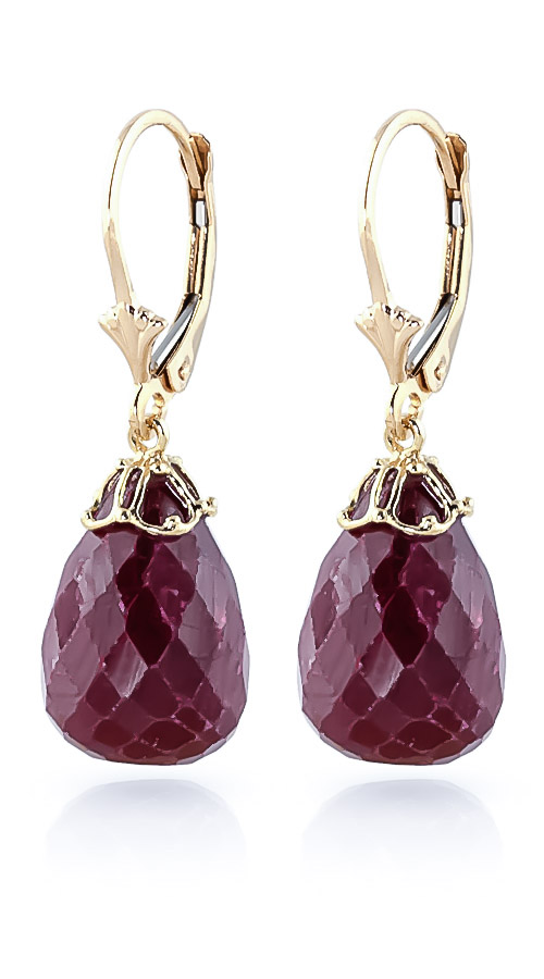 Ruby Crown Briolette Drop Earrings 29.6ctw in 9ct Gold