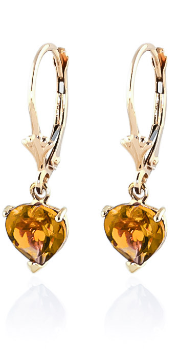 Citrine Heart Drop Earrings 3.05ctw in 9ct Gold