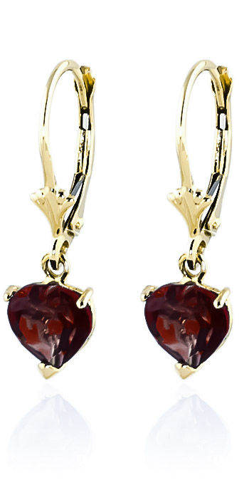 Garnet Heart Drop Earrings 3.05ctw in 9ct Gold