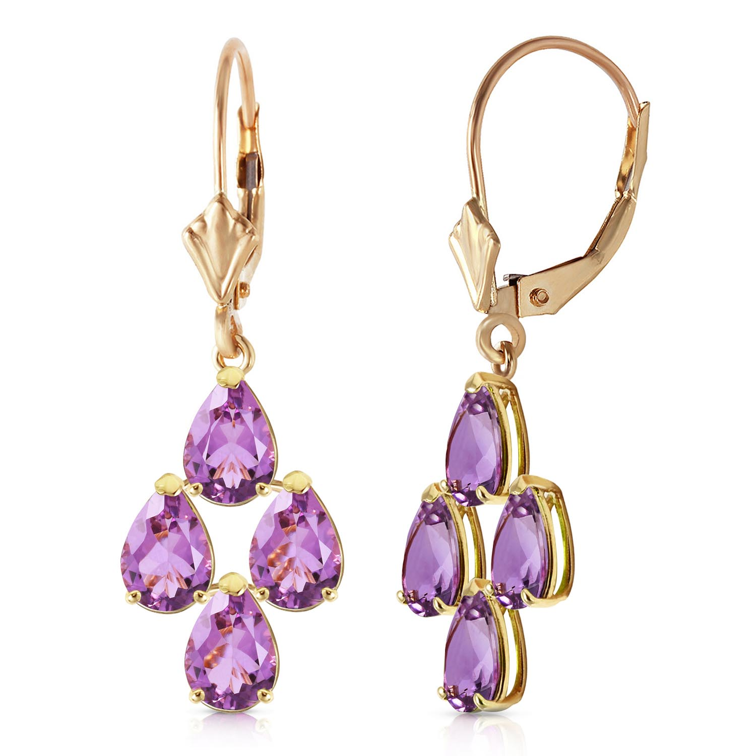 Amethyst Drop Earrings 3.0ctw in 9ct Gold