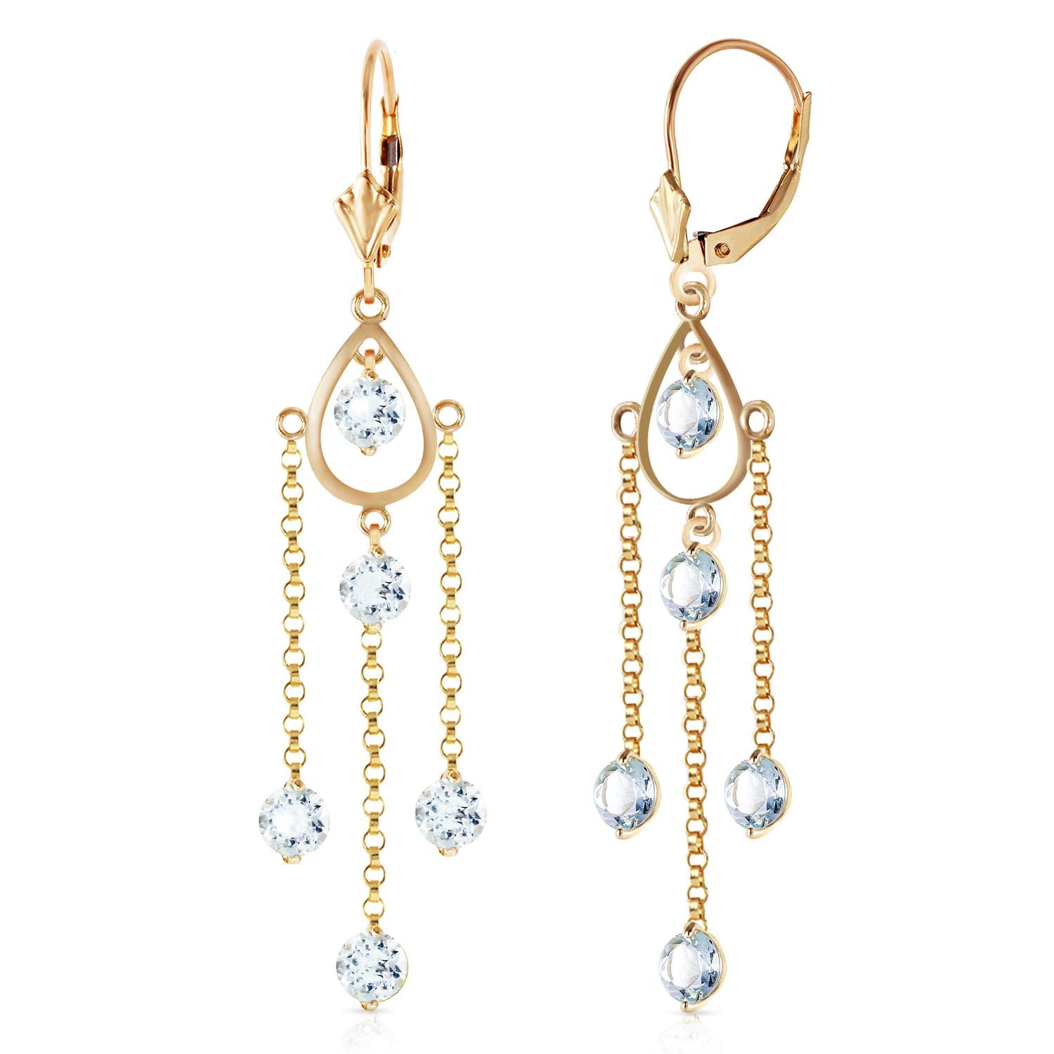 Aquamarine Faro Drop Earrings 3.0ctw in 9ct Gold