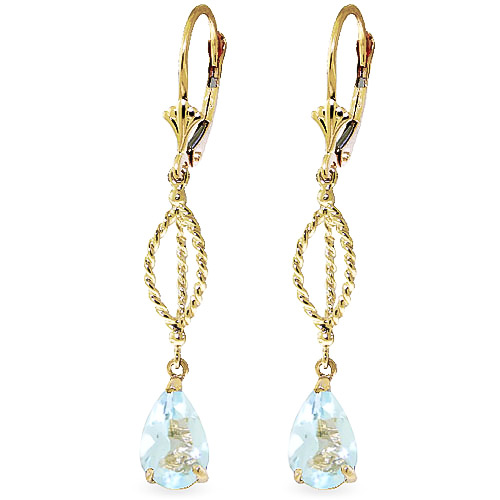Aquamarine Sceptre Drop Earrings 3.0ctw in 9ct Gold