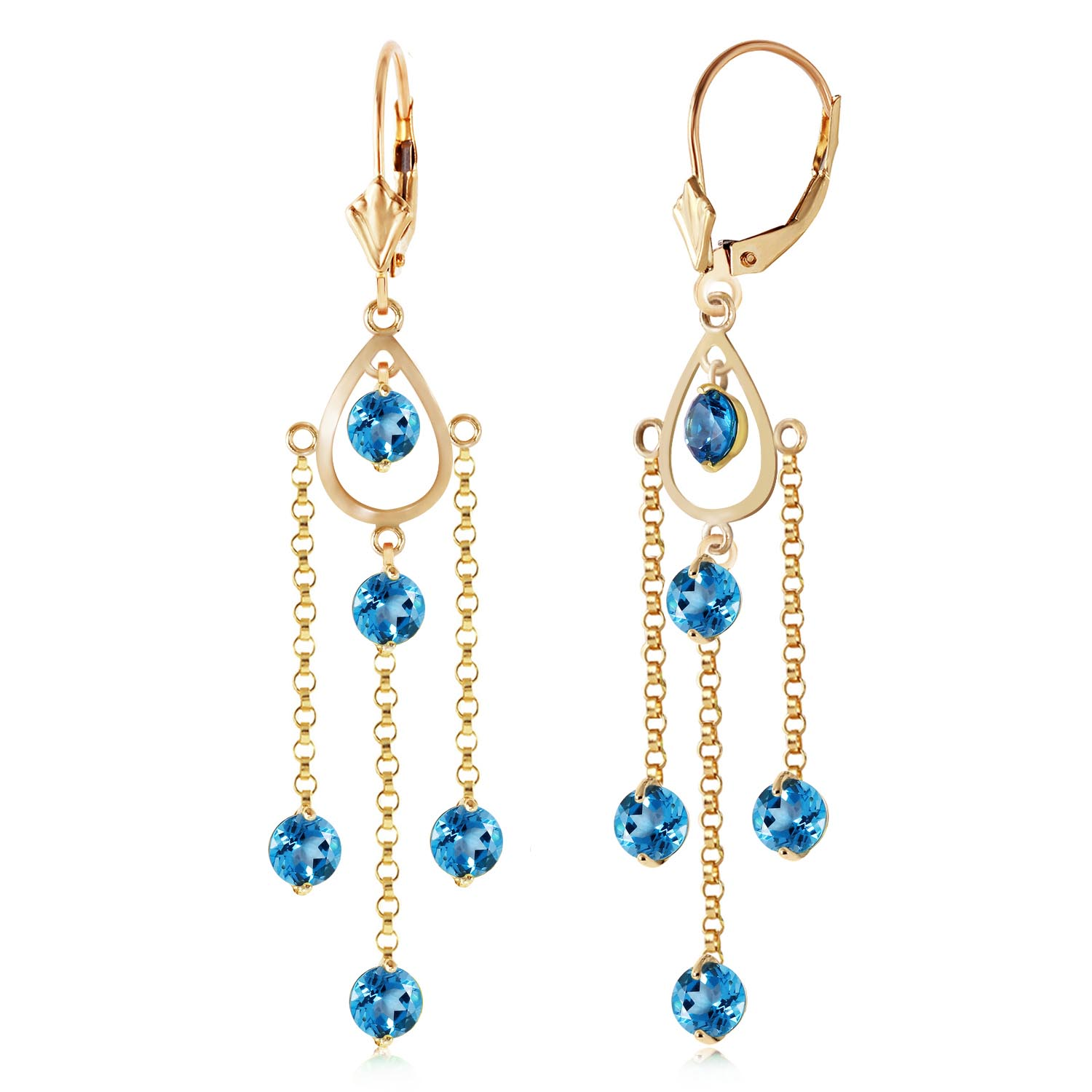 Blue Topaz Faro Drop Earrings 3.0ctw in 9ct Gold