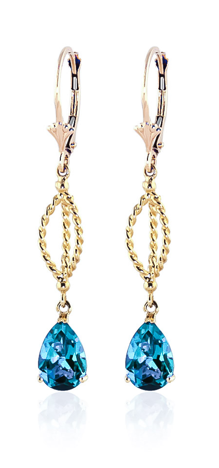Blue Topaz Sceptre Drop Earrings 3.0ctw in 9ct Gold