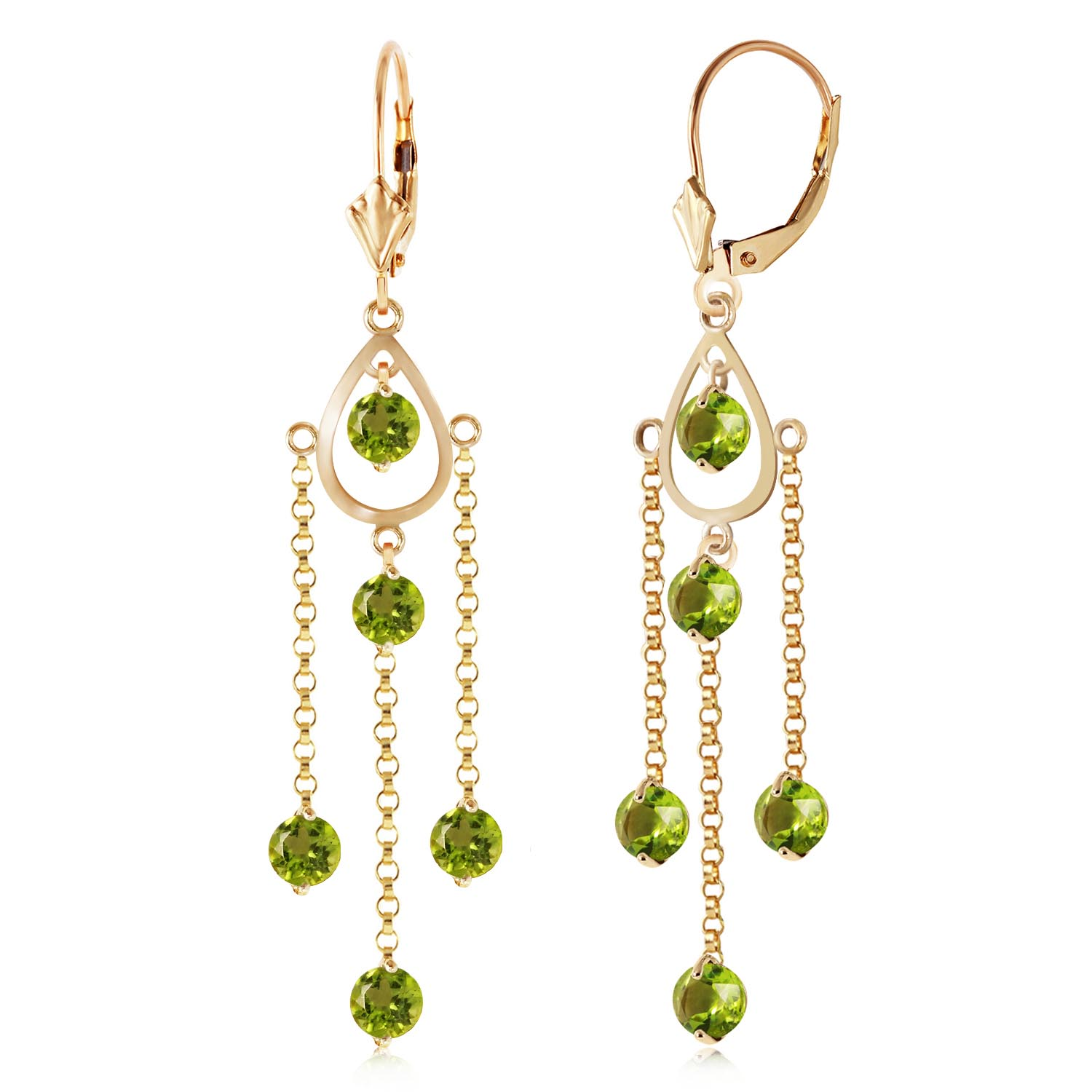 Peridot Faro Drop Earrings 3.0ctw in 9ct Gold