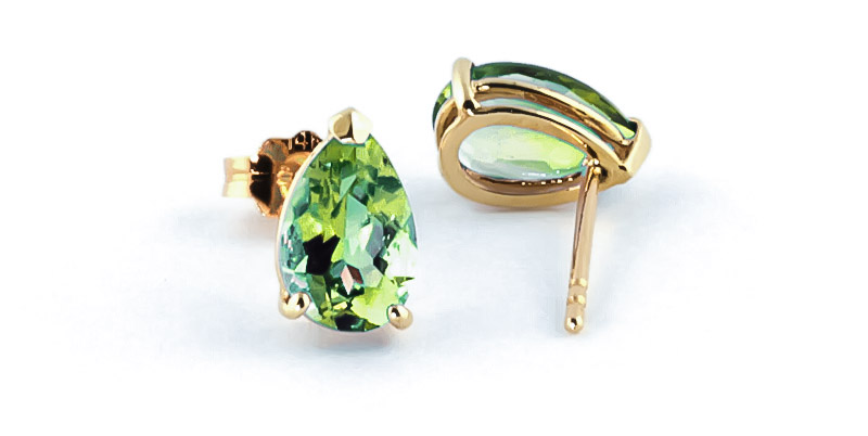 Peridot Stud Earrings 3.0ctw in 9ct Gold