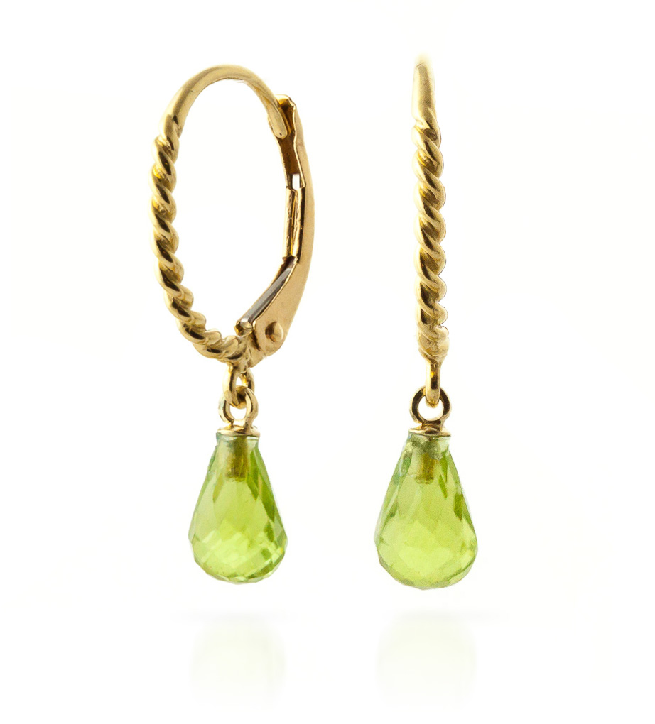 Peridot Plait Stem Briolette Drop Earrings 3.0ctw in 9ct Gold