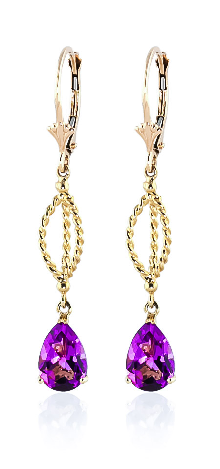 Pink Topaz Sceptre Drop Earrings 3.0ctw in 9ct Gold