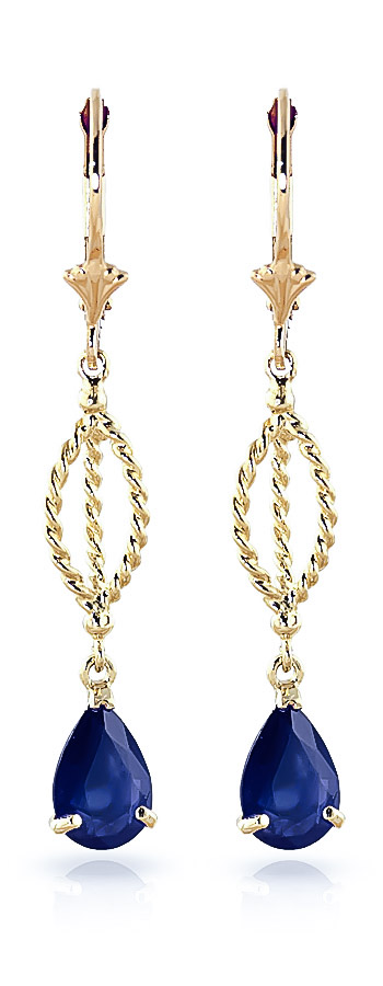 Sapphire Sceptre Drop Earrings 3.0ctw in 9ct Gold