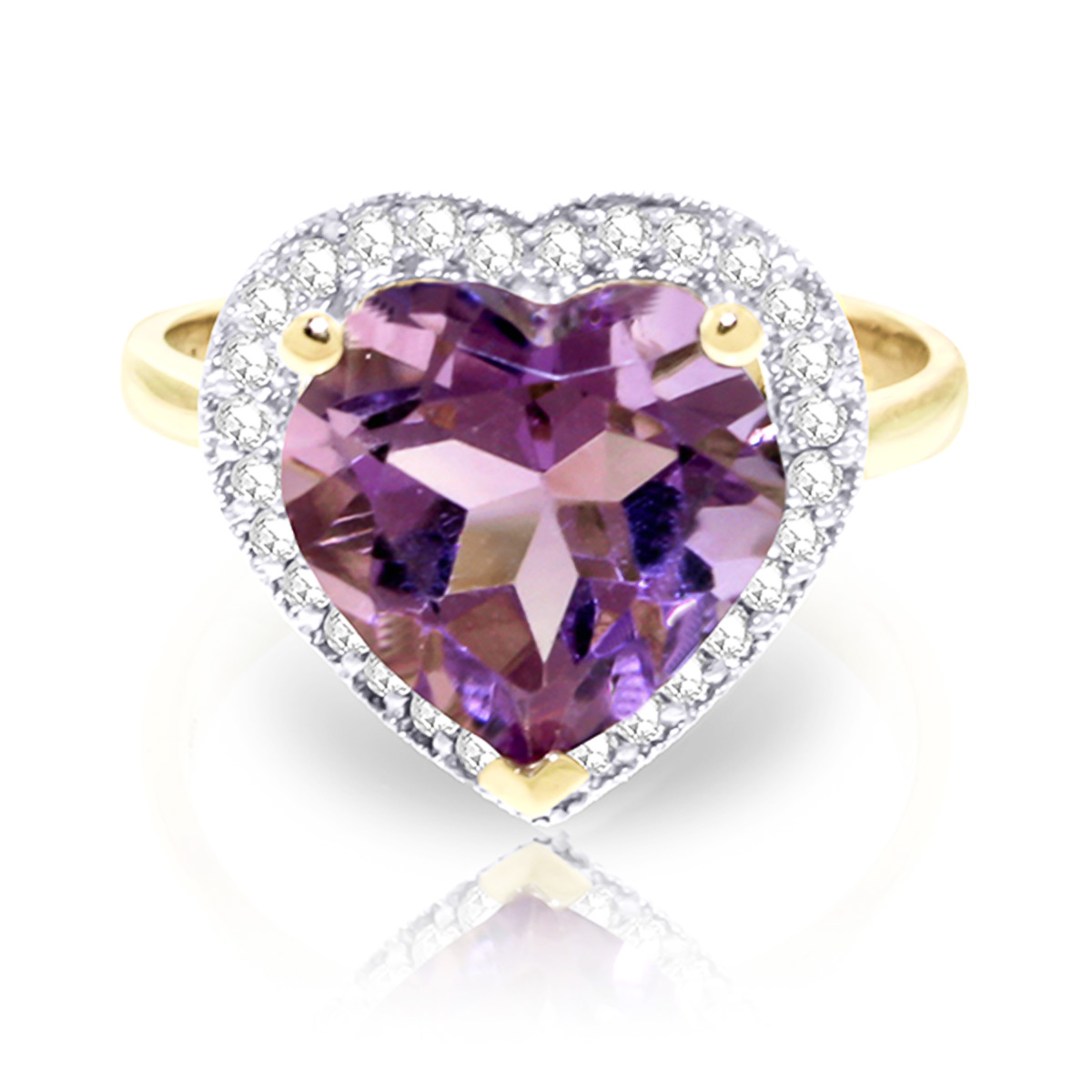 Amethyst and Diamond Halo Ring 3.1ct in 9ct Gold