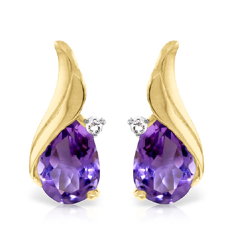 Amethyst and Diamond Stud Earrings 3.1ctw in 9ct Gold
