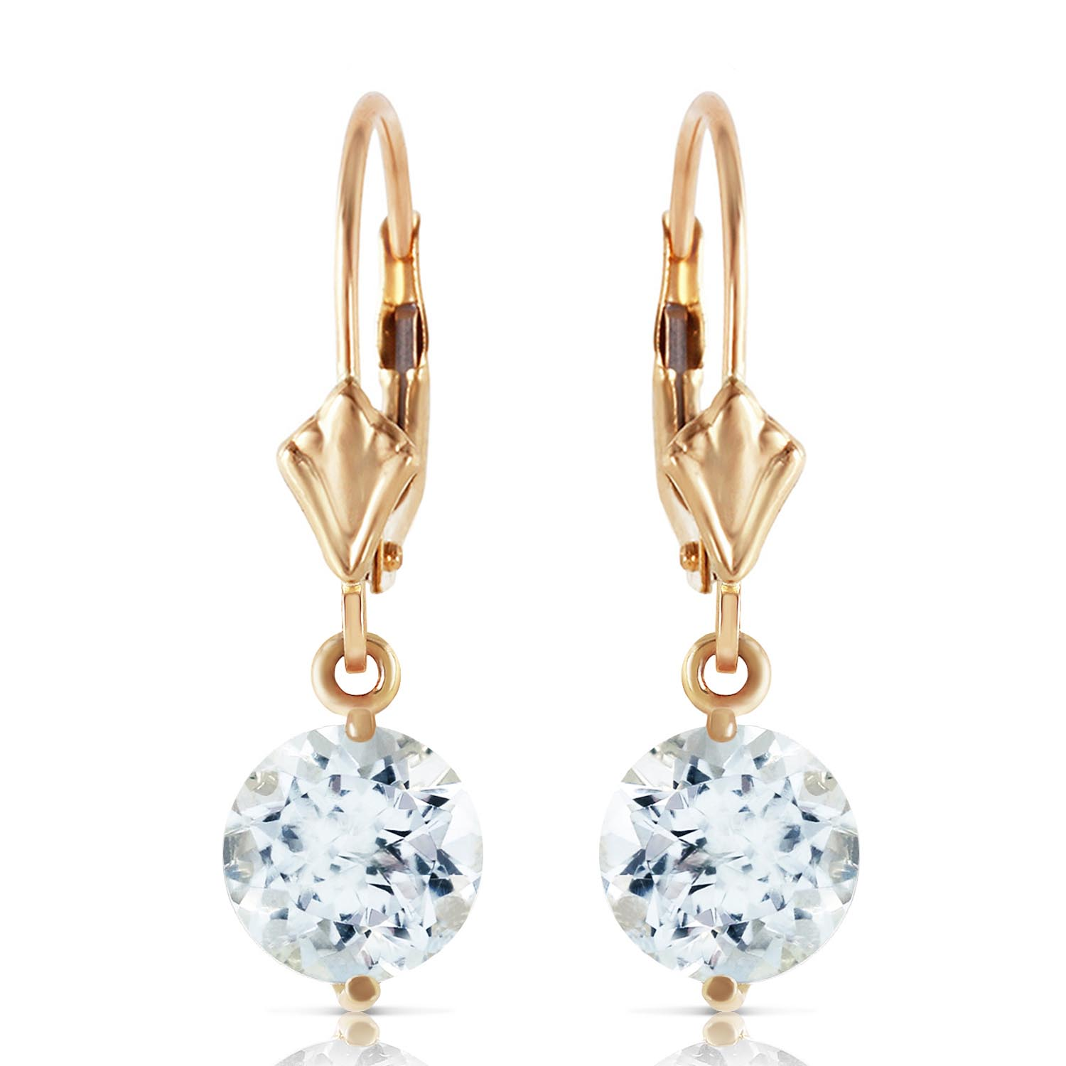 Aquamarine Drop Earrings 3.1ctw in 9ct Gold