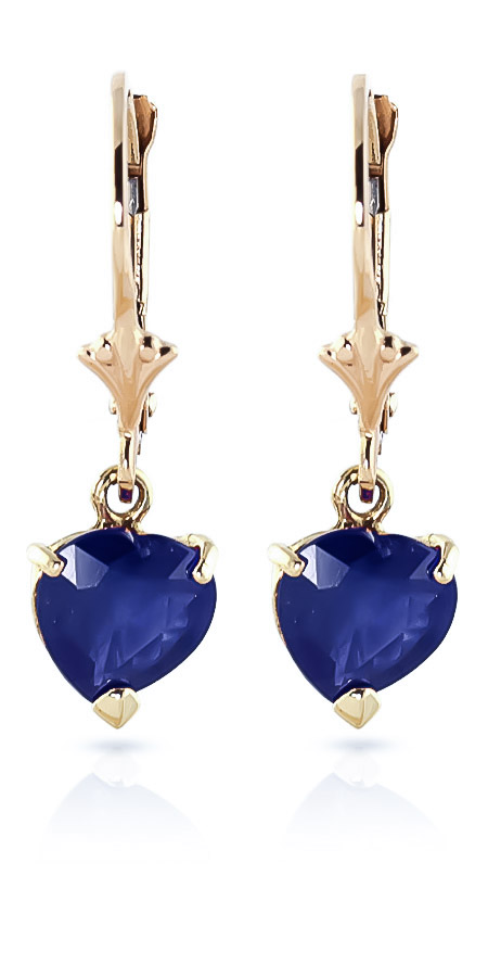 Sapphire Heart Drop Earrings 3.1ctw in 9ct Gold