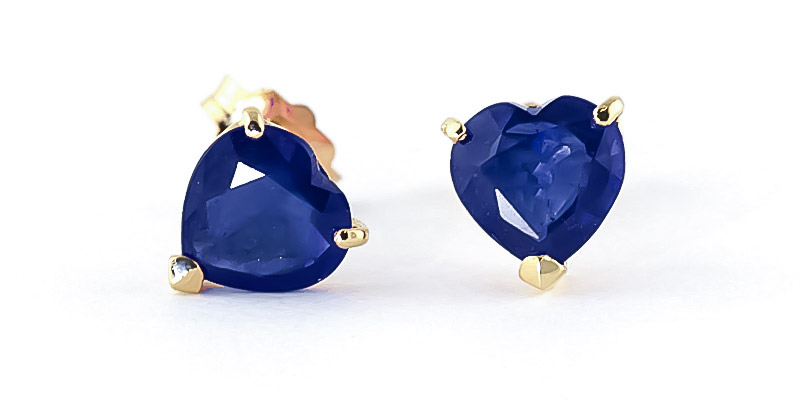 Sapphire Heart Stud Earrings 3.1ctw in 9ct Gold
