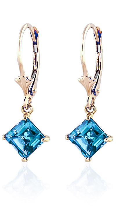 Blue Topaz Drop Earrings 3.2ctw in 9ct Gold