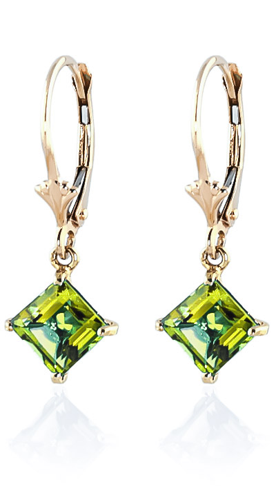 Peridot Drop Earrings 3.2ctw in 9ct Gold