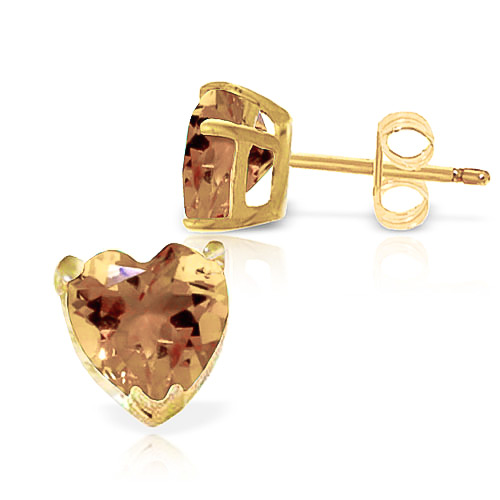 Citrine Heart Stud Earrings 3.25ctw in 9ct Gold