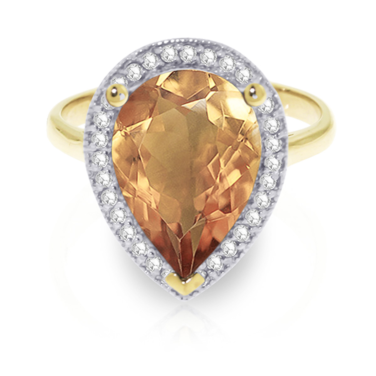 Citrine and Diamond Halo Ring 3.25ct in 9ct Gold