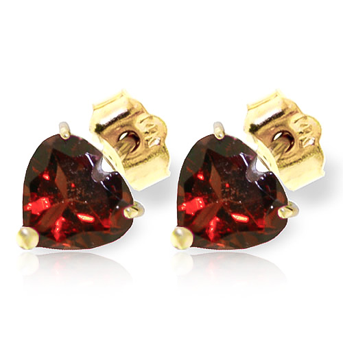 Garnet Heart Stud Earrings 3.25ctw in 9ct Gold