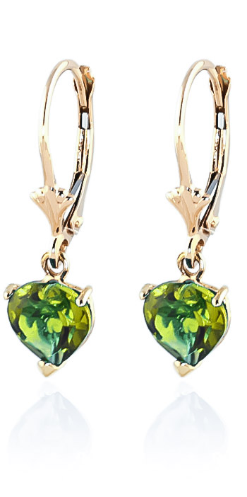 Peridot Heart Drop Earrings 3.25ctw in 9ct Gold