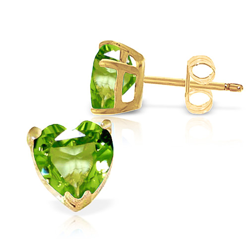 Peridot Heart Stud Earrings 3.25ctw in 9ct Gold