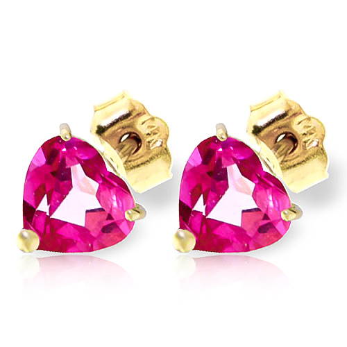 Pink Topaz Heart Stud Earrings 3.25ctw in 9ct Gold