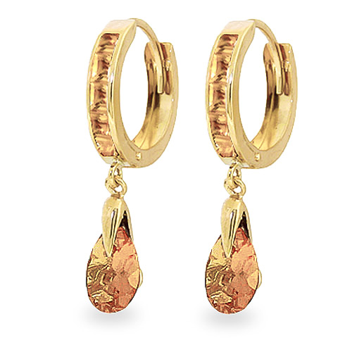 Citrine Droplet Huggie Earrings 3.3ctw in 9ct Gold