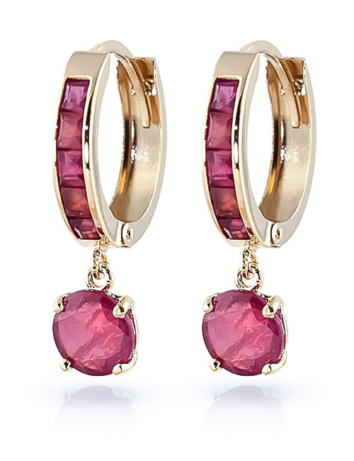 Ruby Huggie Earrings 3.3ctw in 9ct Gold
