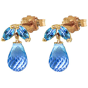 Blue Topaz Snowdrop Briolette Stud Earrings 3.4ctw in 9ct Gold