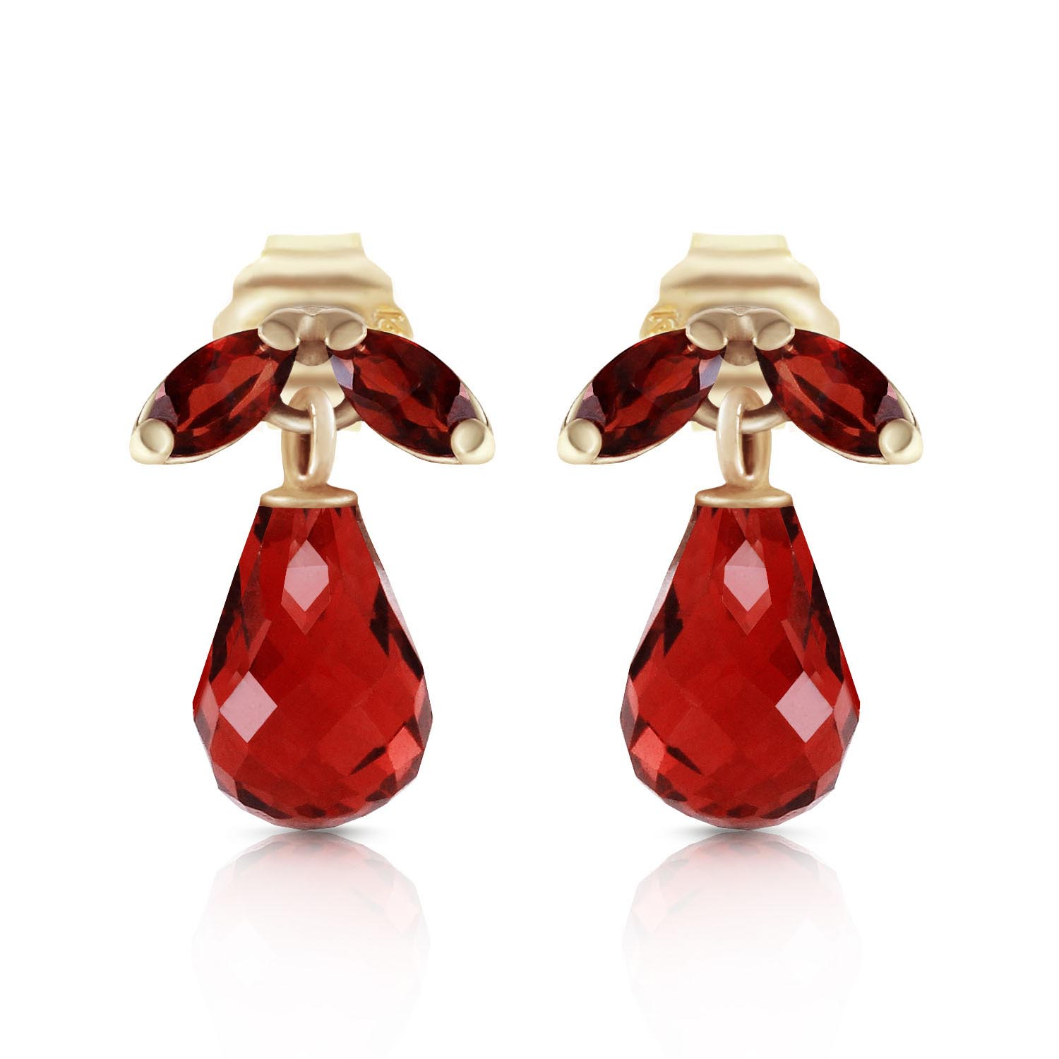 Garnet Snowdrop Briolette Stud Earrings 3.4ctw in 9ct Gold
